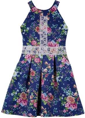 Amy Byer Iz Girls 7-16 IZ Crochet Detail Floral Scuba Dress
