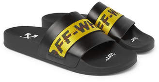 Off-White Off White Logo Webbing-Trimmed Leather Slides - Black