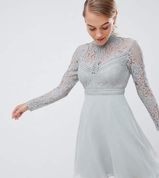 Little Mistress Petite lace top full mini prom dress
