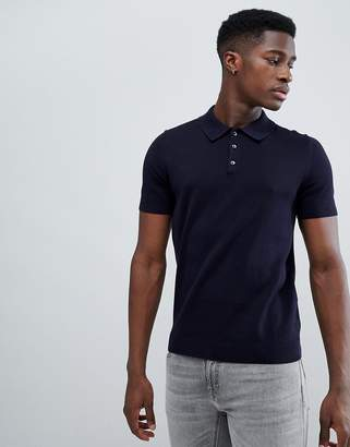 Reiss Short Sleeve Knitted Polo Shirt In Navy