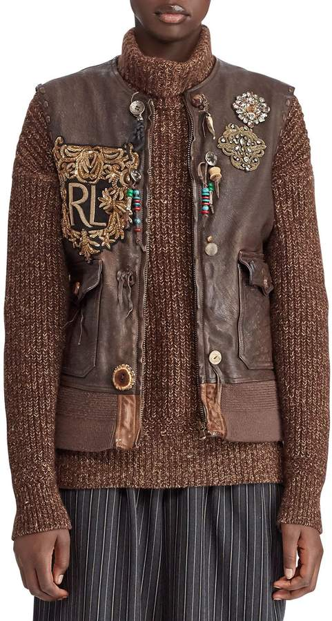 50th Anniversary Hamlin Leather Vest w/ Patches, Beads, and Fringe