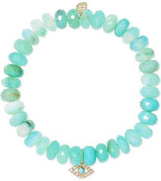 Sydney Evan Evil Eye 14-karat Gold, Turquoise And Diamond Bracelet