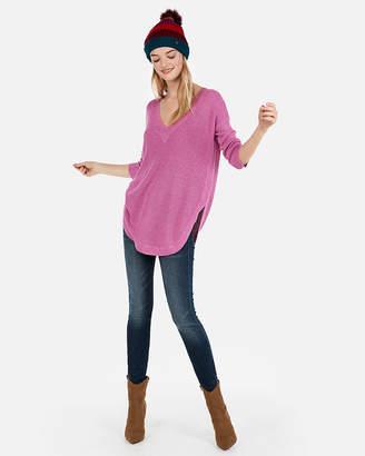 Express V-Neck Circle Hem Tunic Sweater