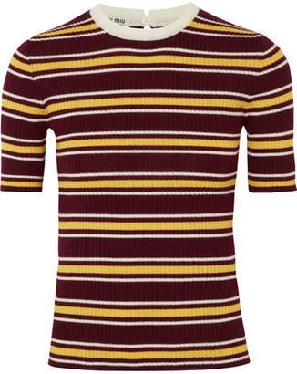 Miu Miu Striped Ribbed Wool Sweater - Burgundy