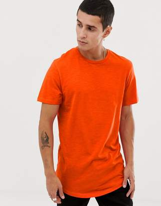 Jack and Jones Originals longline curved hem t-shirt in red