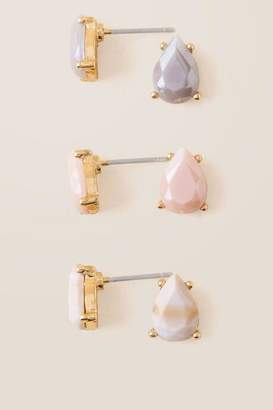 francesca's Ines Teardrop Stud Earring Trio - Champagne