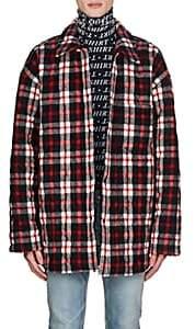 Balenciaga Men's Checked Wool-Blend Oversized Shirt Jacket - Red