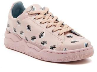 Chiara Ferragni Pink Leather Sneaker