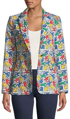 Alice + Olivia Keith Haring x Macey Printed Notch-Collar Blazer
