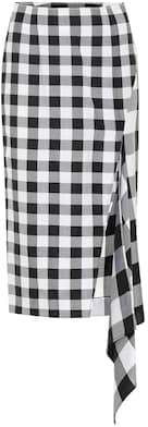 Monse Checked wool and cotton skirt