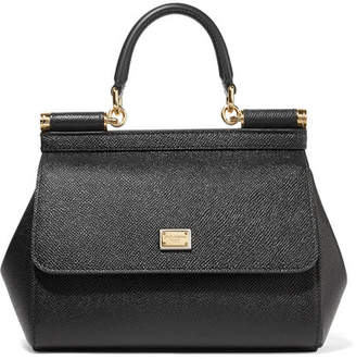 Dolce & Gabbana Sicily Small Textured-leather Tote - Black