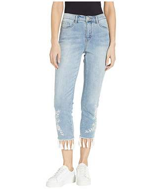 Tribal True Denim Crop Skinny with Embroidery and Tassels in Cruise Wash