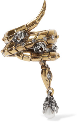 Alexander McQueen - Gold-tone, Swarovski Crystal And Pearl Ring $345 thestylecure.com