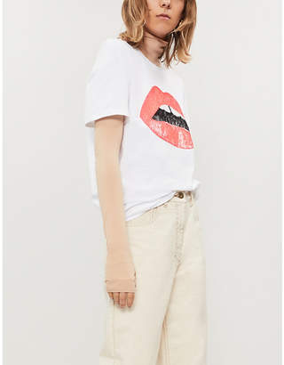 Markus Lupfer Alex embellished Lara lip cotton-jersey