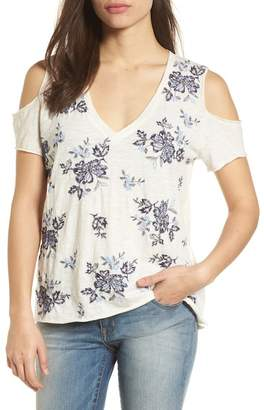 Lucky Brand Floral Embroidered Cold Shoulder Top