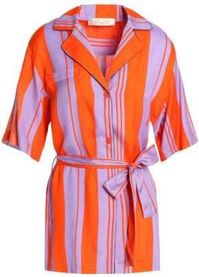 Diane von Furstenberg Bow-detailed Striped Silk-blend Shirt