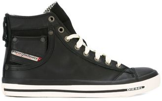 Diesel leather hi-top sneakers $129.09 thestylecure.com