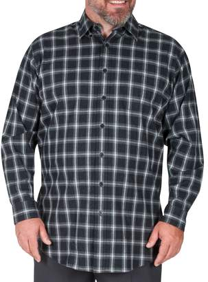 Haggar Big Tall Long-Sleeve Windowpane Check Flannel Shirt