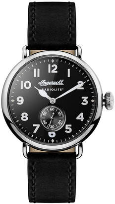 Ingersoll Trenton Radiolite with Stainless Steel Case, Black Dial and Black Leather Strap
