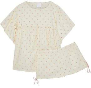 Three J NYC Anna Eyelet-Embellished Cotton-Voile Pajama Set