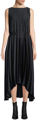 Vince Pleated Self-Tie High-Low Midi Dress