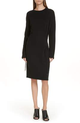 Vince Drawstring Belt Cotton Midi Dress