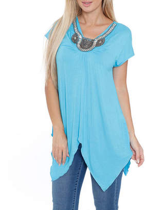 WHITE MARK White Mark Embellished Tunic Top