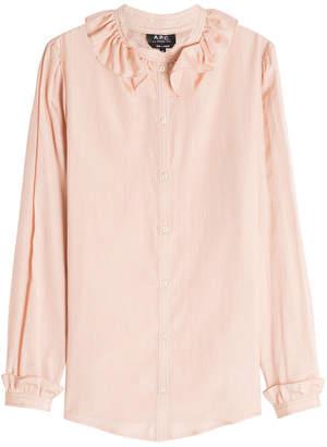 A.P.C. Josephine Striped Cotton-Silk Blouse