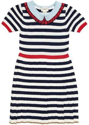 Gucci Striped Cotton Blend Knit Dress