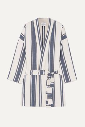 Playa Lucy Folk Striped Cotton-blend Robe - White