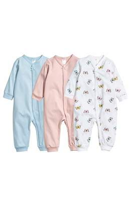 H&M 3-pack One-piece Pajamas - White/butterflies - Kids