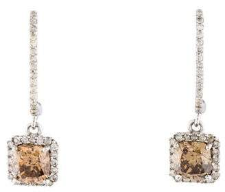 14K Cushion Cut Diamond Drop Earrings