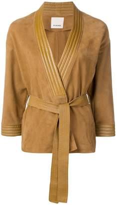 Pinko belted leather jacket