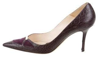 Alessandro Dell'Acqua Embossed Pointed-Toe Pumps