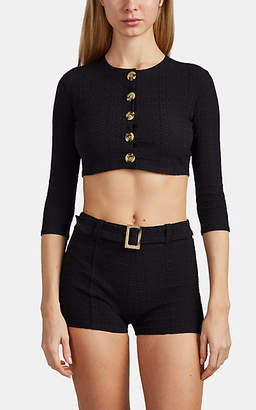 Lisa Marie Fernandez Women's Seersucker Crop Swim Cardigan - Black