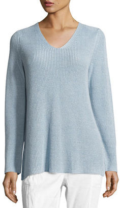 Eileen Fisher Long-Sleeve Organic Linen V-Neck Top, Petite $178 thestylecure.com