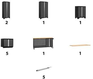 NewAge Products Bold 11 Piece Complete Storage System Lighting: 5 LEDs, Worktop Material: Bamboo,