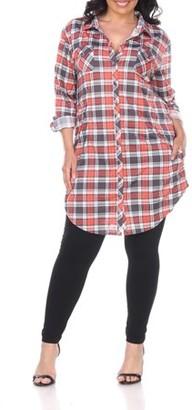 White Mark Women's Plus Size Plaid Tunic Top