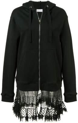RED Valentino sheer panel zipped hoodie