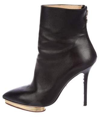 Charlotte Olympia Leather Pointed-Toe Booties