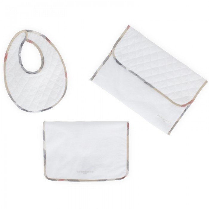 Burberry White Bib and Pouch Set