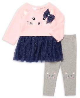 Nannette Baby Girl's Two-Piece Cat Tutu Top & Leggings Set