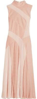 ADEAM Velvet-paneled Plisse-chiffon Dress
