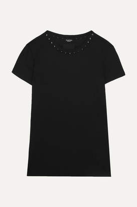 Valentino The Rockstud Embellished Cotton-jersey T-shirt - Black