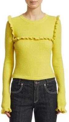 See by Chloe Ruffled Rib Sweater