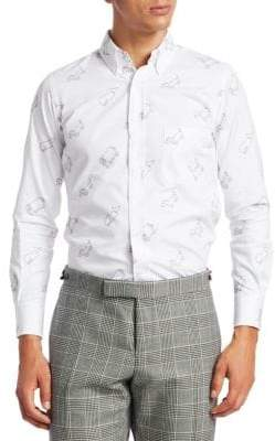 Thom Browne Embroidered Oxford Button-Down Shirt