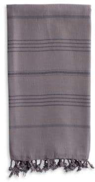 Linum Home Textiles Pestemal Gray Turkish Cotton Striped and Fringed Beach Towel