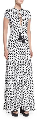 Derek Lam Short-Sleeve Crescent-Print Gown, White/Black $2,495 thestylecure.com
