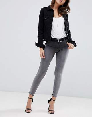Replay Touch super high raised cropped Jeans in ombre black wash