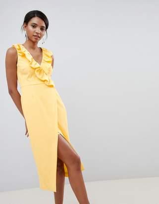 Keepsake midi wrap dress with ruffle detail